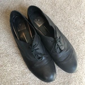 Dolce Vita black leather lace-up loafers